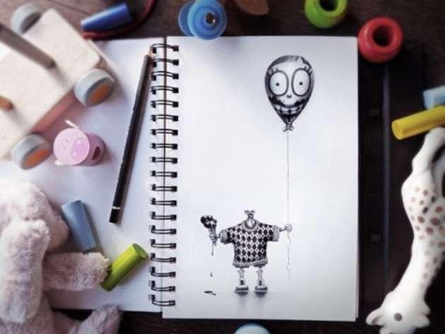 """dibujoo3 -""""Pez"""" el artista que crea arte con solo un lápiz y su libreta"""