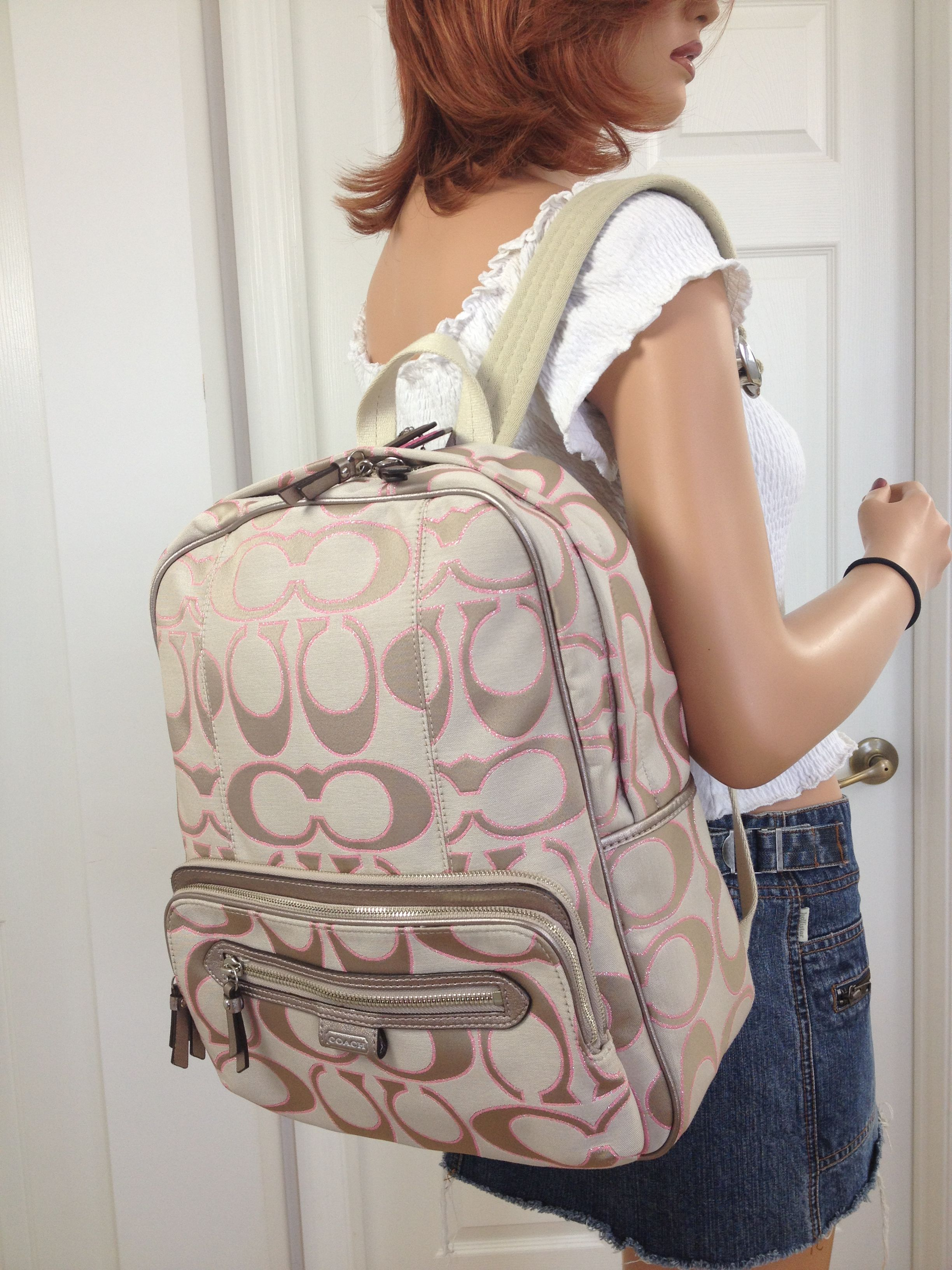 backpack coach outlet  coach pink khaki