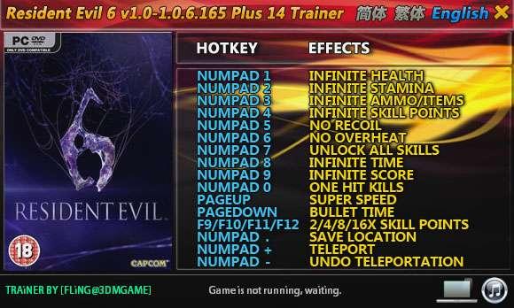 Resident Evil 6 v1.0-v1.0.6.165 +14 Trainer [FliNG]